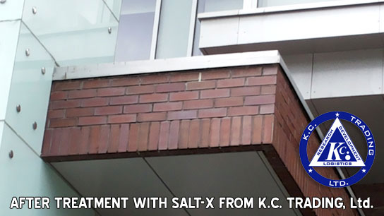 efflorescence brick casement after treatment